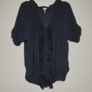 Joie Black Silk Ruffle and Button up Blouse